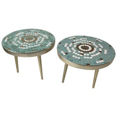 Pair of 1950s Mosaic Tile Top Side Tables