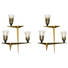 Pair of 1950s Murano Glass Sconces