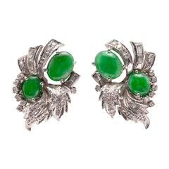 Pair of 1950s Natural Apple Green Jadeite Jade and Diamond Clip-On Earrings