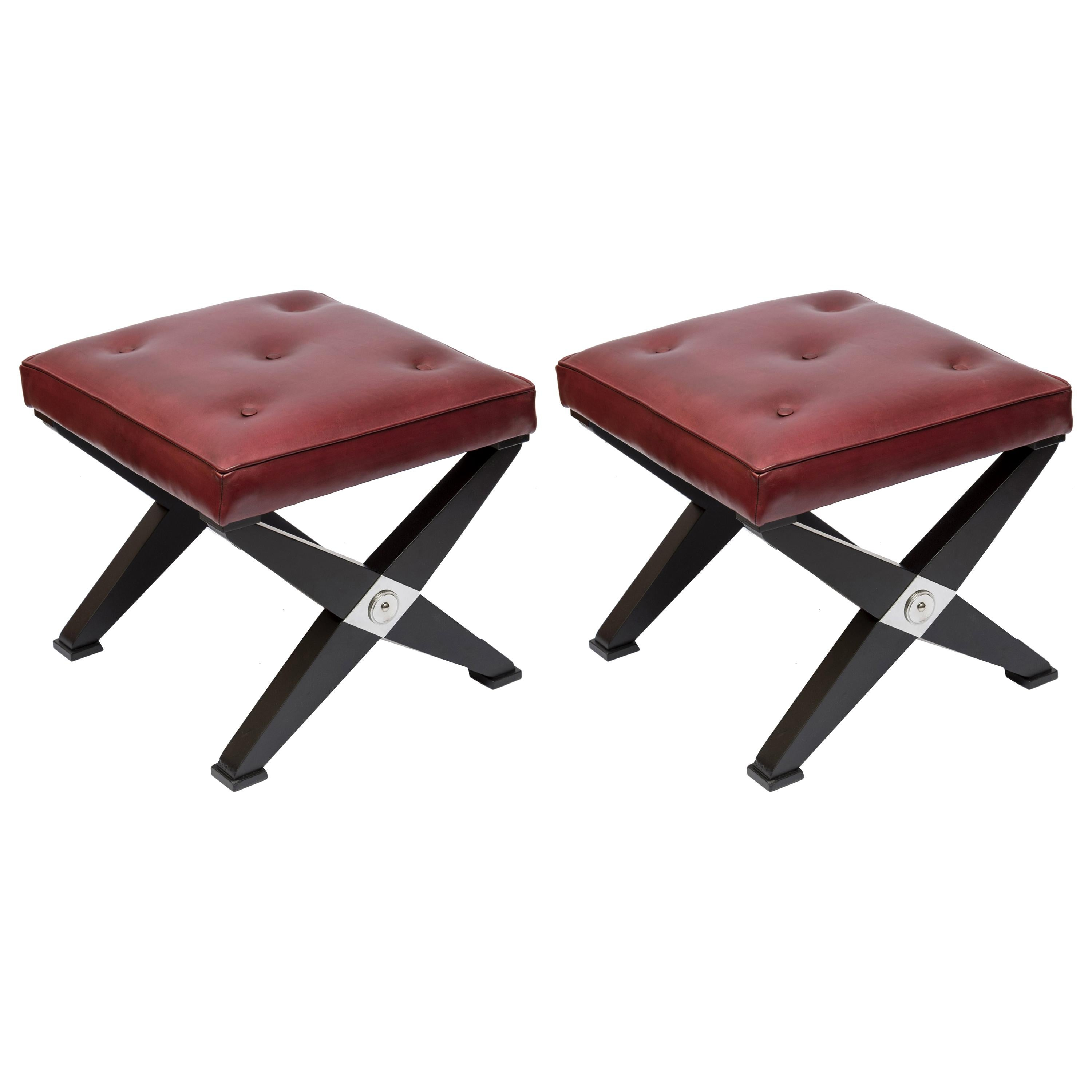 Pair of 1950s Neoclassic Stools in the Style of Jansen
