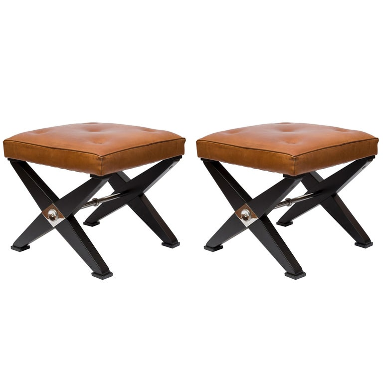 Pair of 1950s Neoclassic Stools in the Style of Jansen For Sale