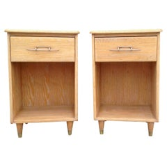 Narrow Pair of 1950s Nightstands with Subtle Cerused Finish