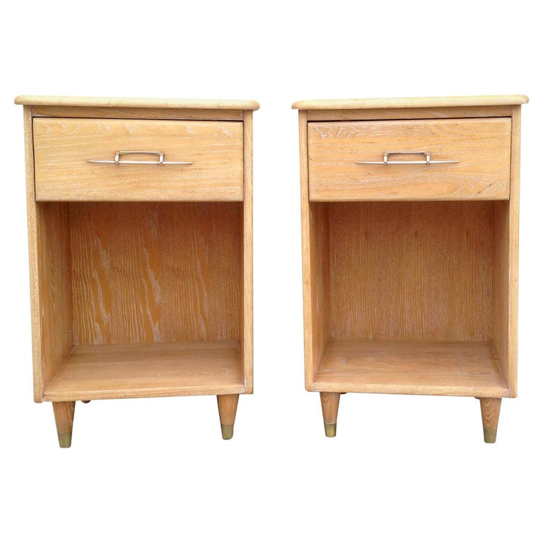 Pair of 1950s Nightstands with Subtle Cerused Finish For Sale