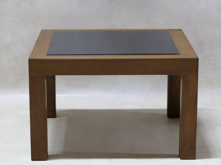 Chic And Minimalist Pair Of Square Coffee Tables With A Polished Oak Structure Black