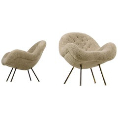 Pair of 1950s Organic Fritz Neth Lounge Chairs Teddy Fur Mid-Century Modern B
