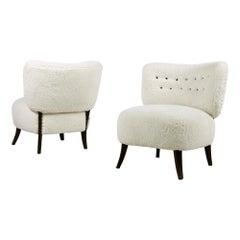 Pair of 1950s Organic Otto Schultz Attrib. Chairs Teddy Fur Mid-Century Modern