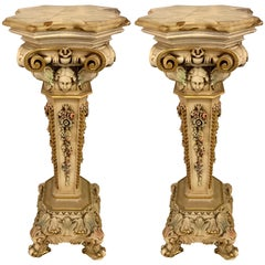 Pair of 1950s Painted and Carved Onyx Top Pedestals