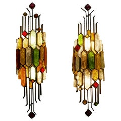 Pair of 1950s Poliarte Sculptural Wall Lights, Italy