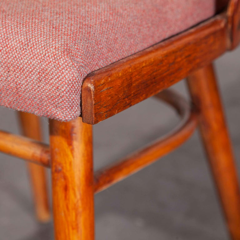 Pair of 1950s re- upholstered Thon dining chairs – Radomir Hoffman Pair of 1950s re- upholstered Thon dining chairs designed by Radomir Hoffman. These chairs were produced by the famous Czech firm Ton, still trading today and producing beautiful