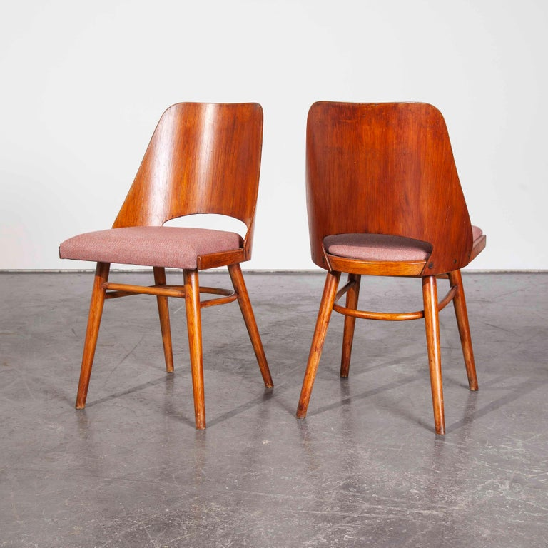 Pair of 1950s Re- Upholstered Thon Dining Chairs, Radomir Hoffman For Sale 3