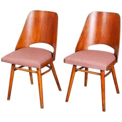 Pair of 1950s Re- Upholstered Thon Dining Chairs, Radomir Hoffman