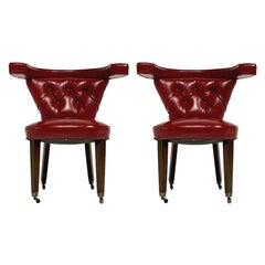 "Pair of 1950s Red Tufted Sculptural Midcentury ""Cock Fighting"" Chairs George III"