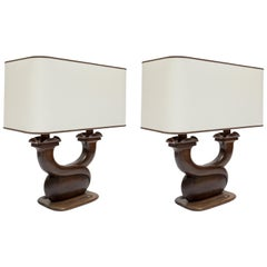 Pair of 1950s Rosewood Lamps in the Style of Alexandre Noll
