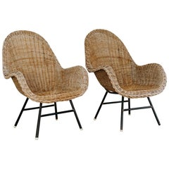 Pair of 1950's Rotan Armchairs