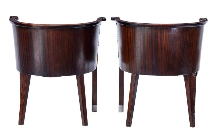 Veneer Pair of 1950s Scandinavian Modern Mahogany Tub Chairs For Sale