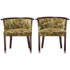 Pair of 1950s Scandinavian Modern Mahogany Tub Chairs