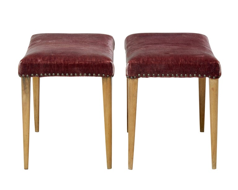Pair of Scandinavian modern designed stools that offer great potential, circa 1950.