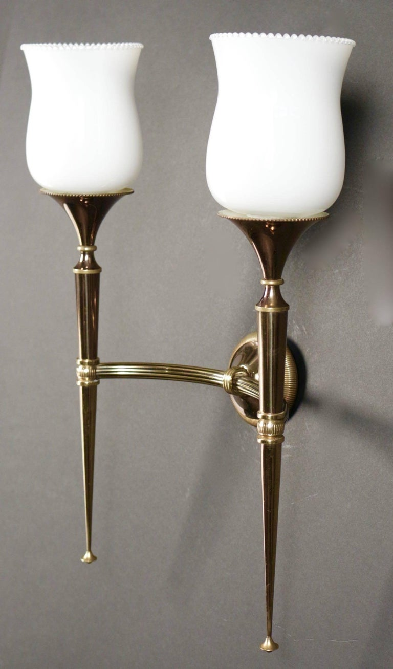 Mid-20th Century Pair of 1950s Sconces by Maison Arlus For Sale