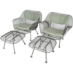 Pair of 1950's Sculptura Lounge Chairs and Ottomans by Russell Woodard