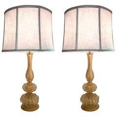 Pair of 1950s Seguso Aventurine Glass Table Lamps, Murano