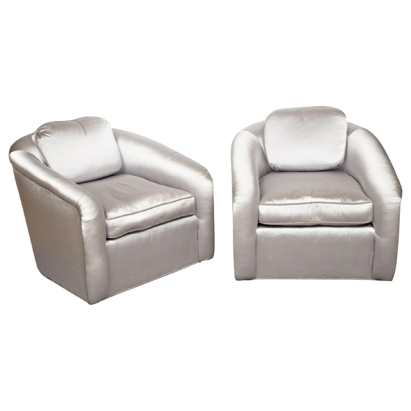 Pair of 1950s Silk Upholstered Lounge Chairs