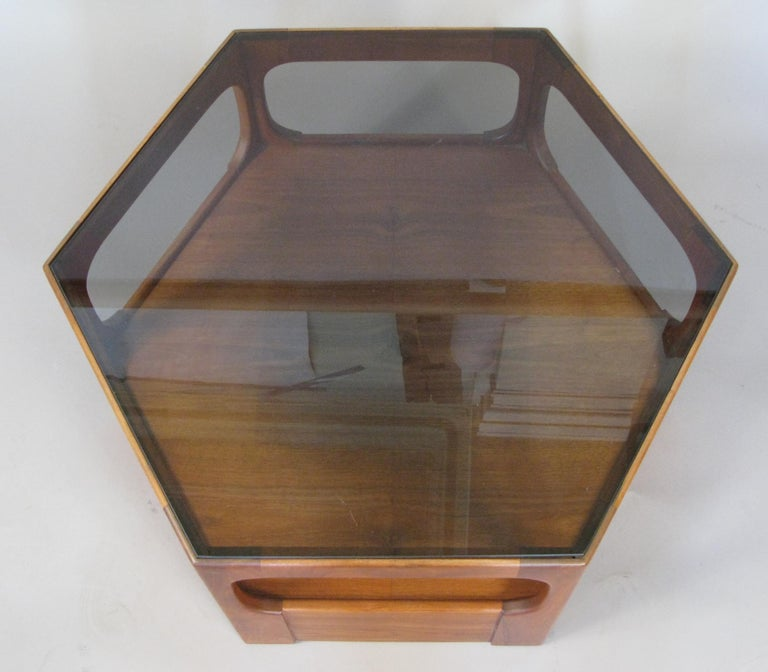 Pair of 1950s Solid Walnut Hexagonal Glass Tables In Good Condition For Sale In Hudson, NY