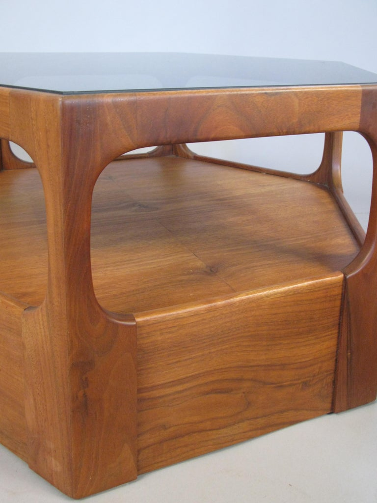 Mid-20th Century Pair of 1950s Solid Walnut Hexagonal Glass Tables For Sale