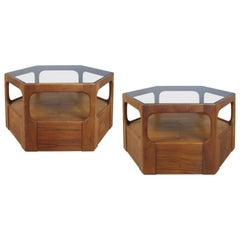 Pair of 1950s Solid Walnut Hexagonal Glass Tables