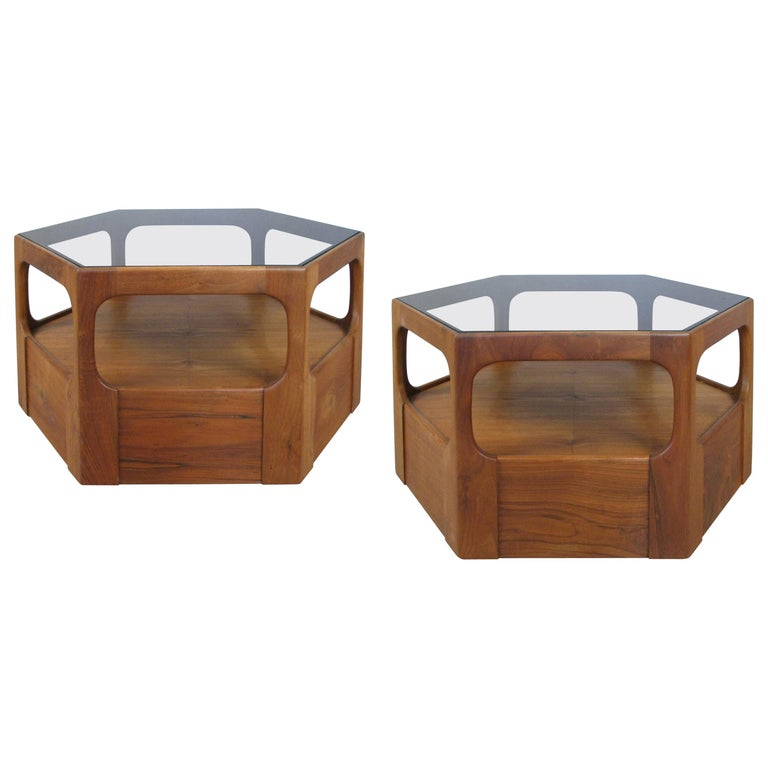 Pair of 1950s Solid Walnut Hexagonal Glass Tables For Sale