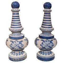 Pair of 1950s Spanish Andalusian Two-Colour Glazed Ceramic Finials