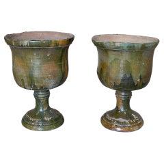 Pair of 1950s Spanish Green Glazed Terracotta Garden Urn Planters