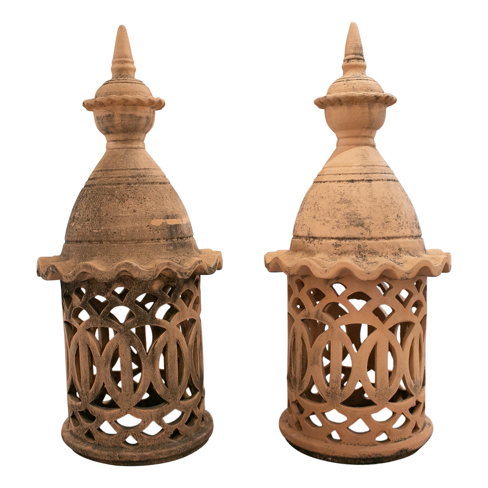 Pair of 1950s Spanish Hand Made Ceramic Finials