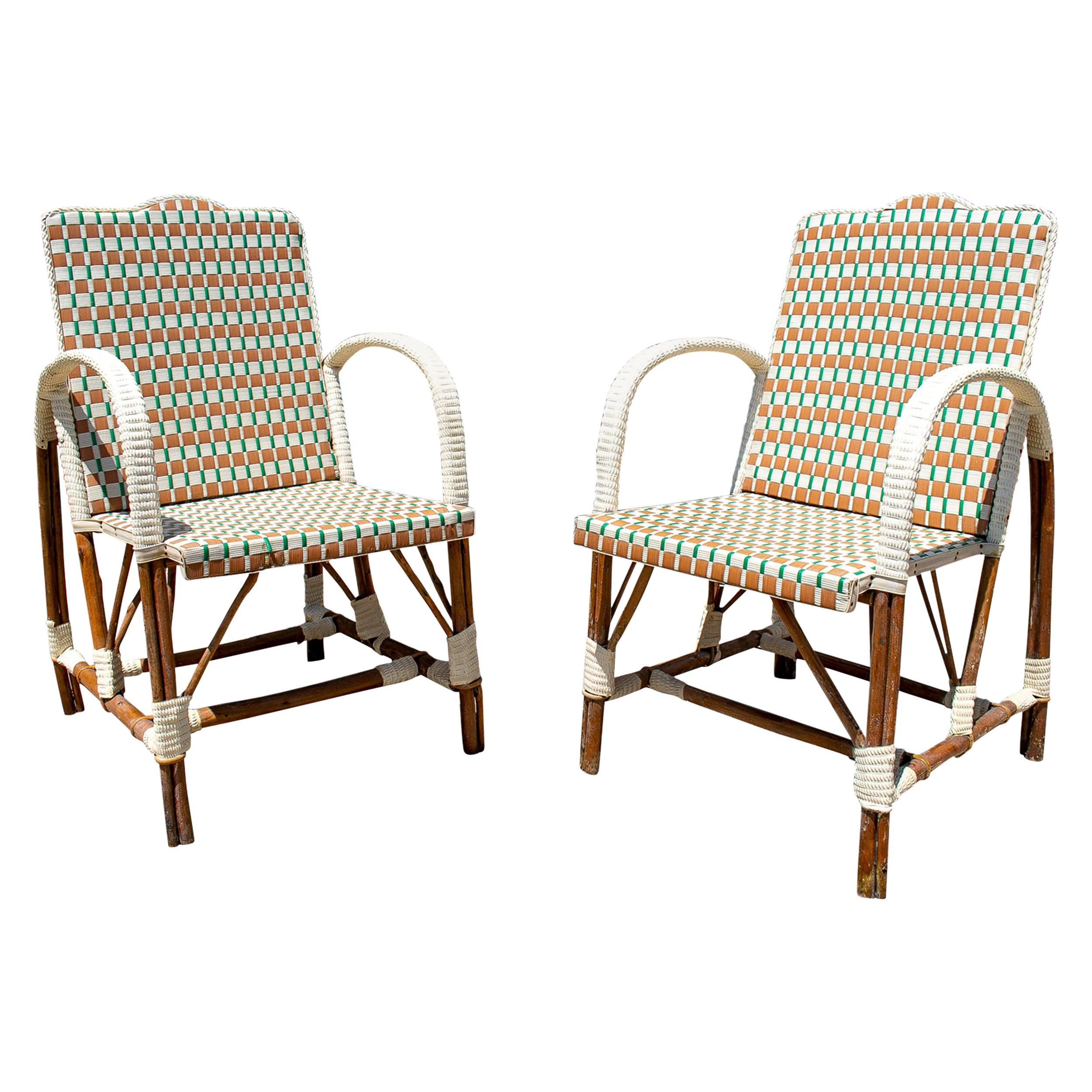 Pair of 1950s Spanish Hand Woven Plastic on Wood Armchairs