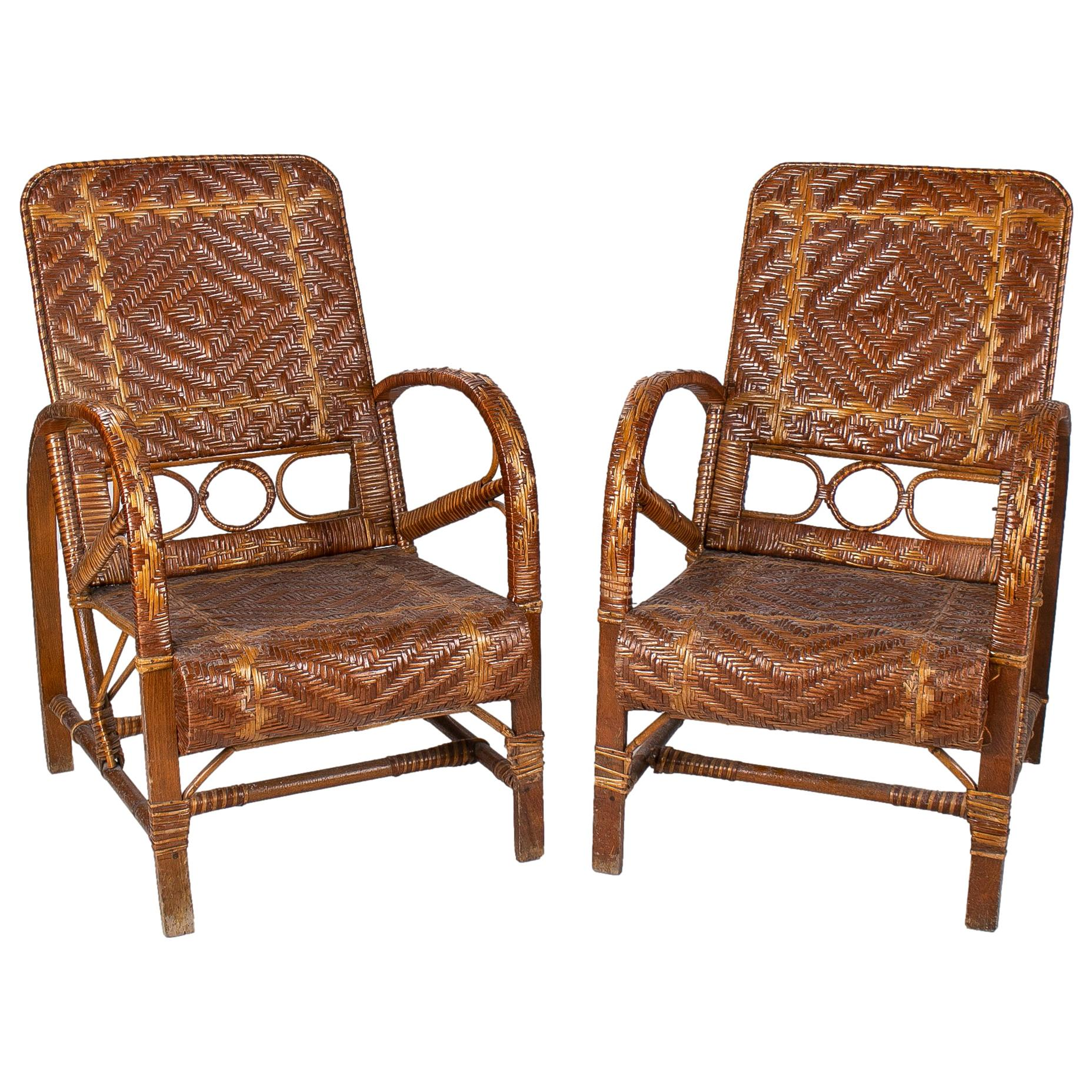Pair of 1950s Spanish Woven Lace Wicker & Bamboo Armchairs