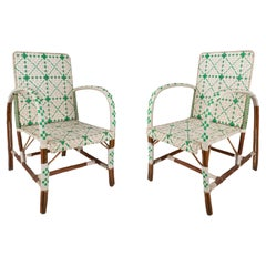 Pair of 1950s Spanish Woven White & Green Plastic on Wood Armchairs