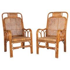 Pair of 1950s Spanish Woven Wicker & Bamboo Armchairs