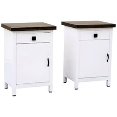 Pair of 1950s Steel Cabinets Refinished in Gloss White