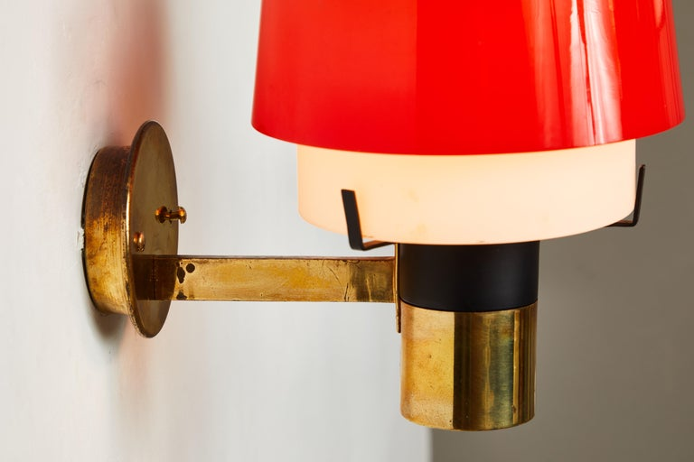 Pair of 1950s Stilnovo Model 2079/1 Brass and Glass Sconces with Original Labels For Sale 5