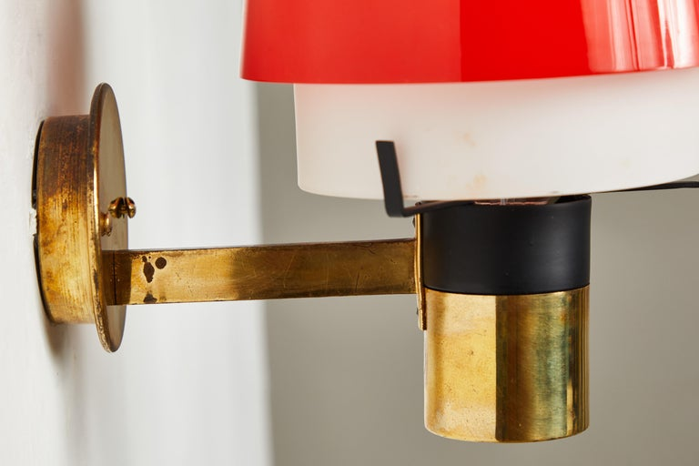 Pair of 1950s Stilnovo Model 2079/1 Brass and Glass Sconces with Original Labels For Sale 6