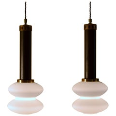 Pair of 1950s Stilnovo Pendant Lamps Milk Glass