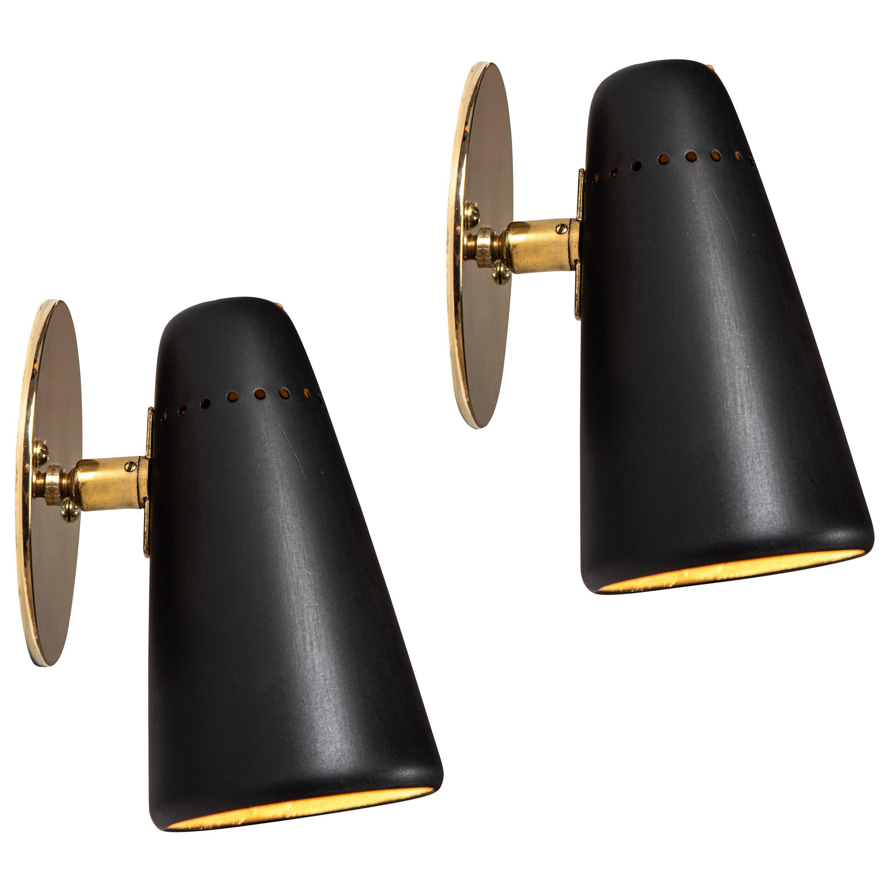Pair of 1950s Stilnovo Sconces in Black and Brass with Yellow Label