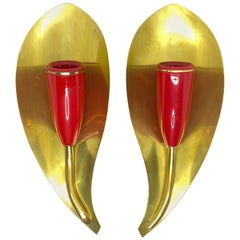 Pair of 1950s Stilnovo Style Sconces Brass and Red, Vintage, Italy