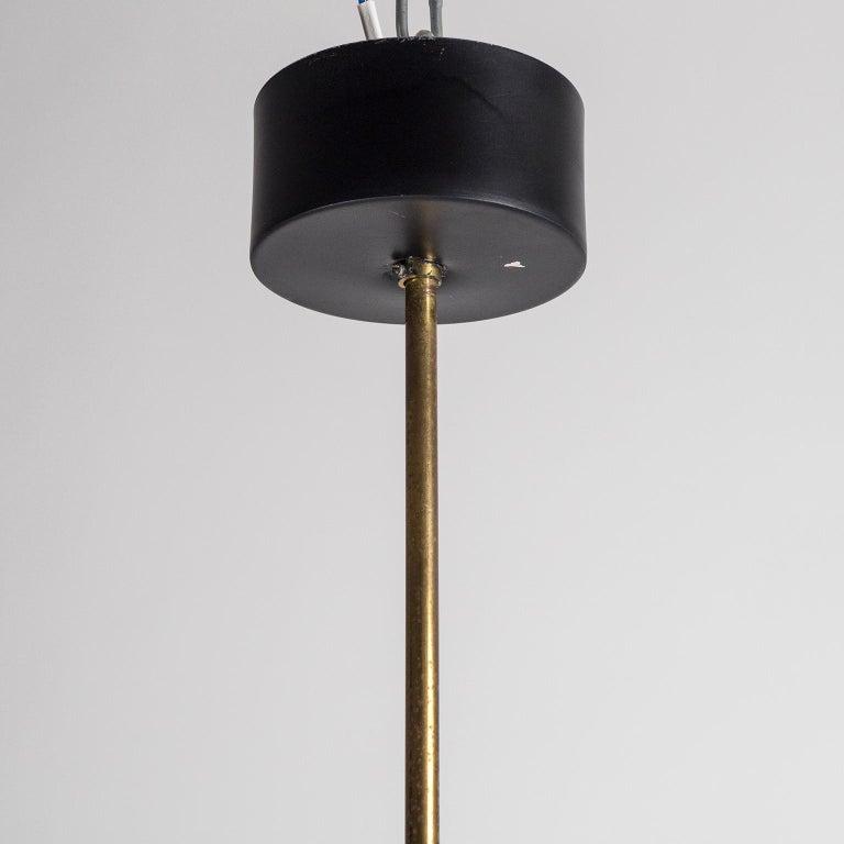 Pair of 1950s Stilux Pendants, Satin Glass, Brass, Lacquered Aluminium For Sale 3