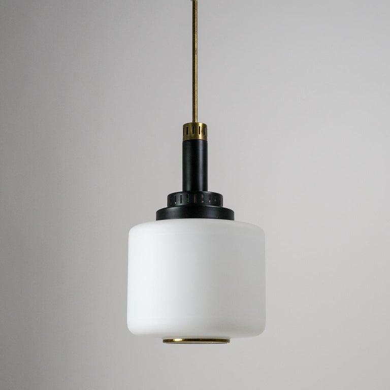 Mid-Century Modern Pair of 1950s Stilux Pendants, Satin Glass, Brass, Lacquered Aluminium For Sale