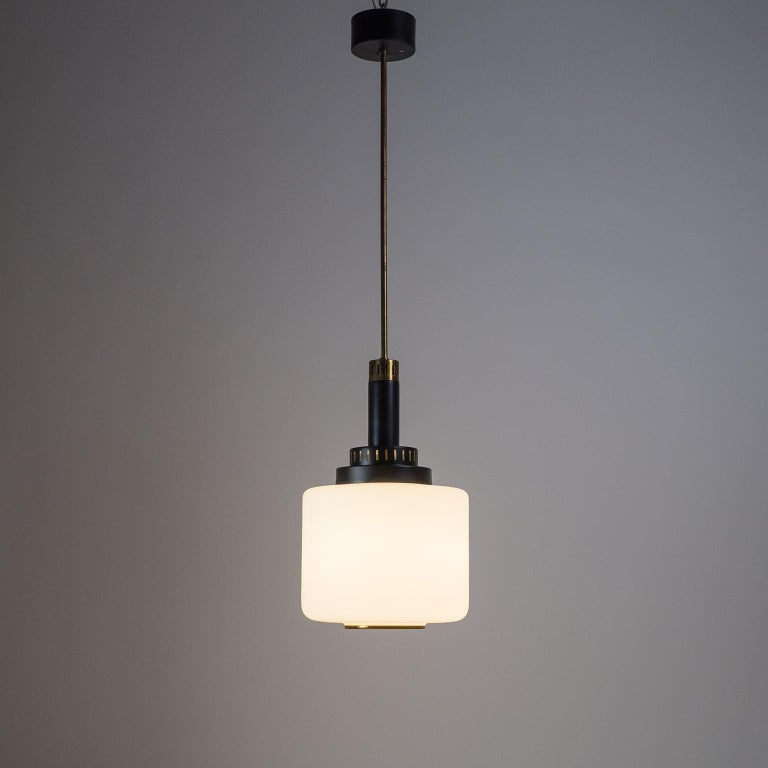 Frosted Pair of 1950s Stilux Pendants, Satin Glass, Brass, Lacquered Aluminium For Sale