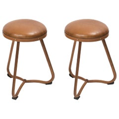 Pair of 1950s Stitched Leather Stools by Jacques Adnet