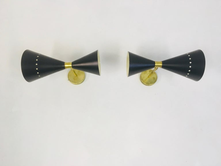 Mid-Century Modern Pair of 1950s Style Italian Diabolo Wall Lights For Sale
