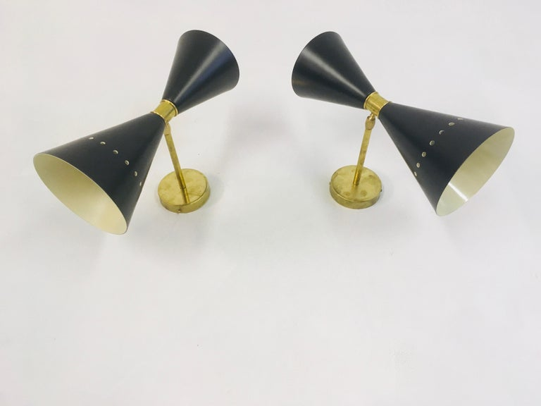 Pair of 1950s Style Italian Diabolo Wall Lights For Sale 2