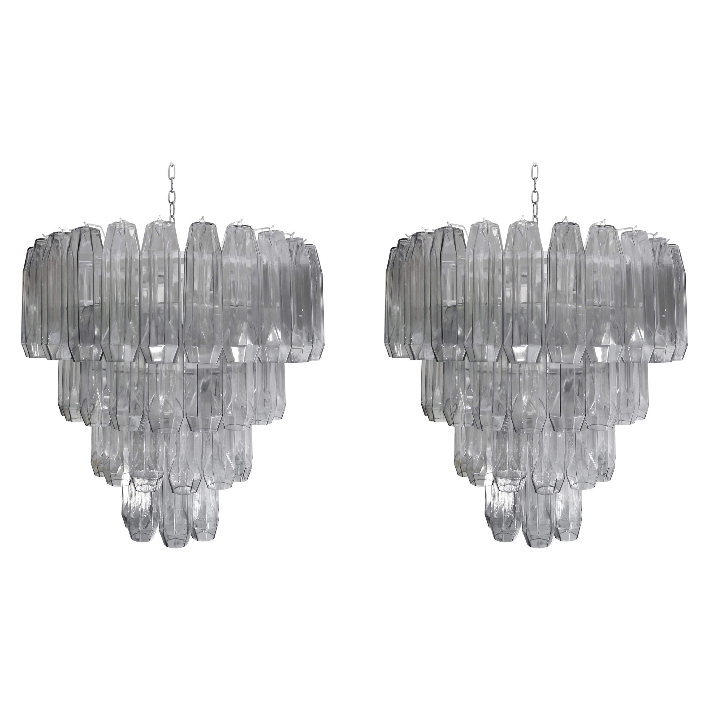 Pair of 1950s Style Poliedri Chandeliers Pearl Grey Blown Murano Glass Italian