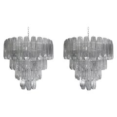 Pair of 1950s Style Poliedri Chandeliers Pearl Grey Blown Murano Glass Italian